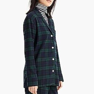 J Crew Black Watch Tartan Plaid Flannel Pajama Top